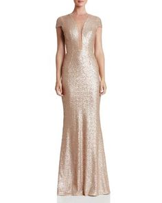 Dress the Population Michelle Illusion-Neck Sequin Gown | bloomingdales.com