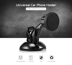 Universal Car Phone Mount Holder, Windshield / Dashboard Magnetic Reusable Car Holder Cradle Support for iOS / Android Smartphone and More