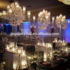 9 arm Europen style luxurious crystal candelabra centerpiece for sale