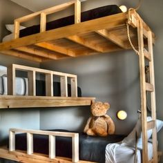 Make the most efficient use of a small—ideally tall—space by stacking three bunks in a corner in a perpendicular pattern.