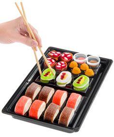 Candy Sushi: A tray of colorful candy shaped like sushi. Candy Sushi: A tray of colorful candy shaped like sushi. Sushi Diy, Sushi Take, Sushi Party, Dessert Sushi, Mug Cakes, Mug Cake Low Carb, Banana Split, Gummy Sushi, Candy Sushi Rolls