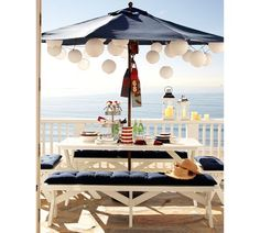 I like the idea of lanterns under the umbrella...and benches instead of chairs.  For our future house on the lake...