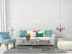 Salle de séjour avec coussins colorés – banque photo libre de droits