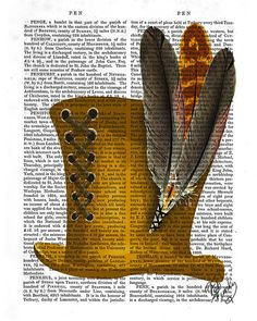 Golden Hat with Feathers Mad Hatter Top Hat Print by FabFunky