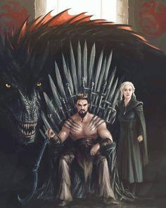 Khal and Khaleesi on the Iron Throne - Game of thrones - Movies Drogon Game Of Thrones, Arte Game Of Thrones, Game Of Thrones Artwork, Game Of Thrones Meme, Game Of Thrones Dragons, Game Of Thrones Images, Game Of Thrones Costumes, Khal And Khaleesi, Daenerys Targaryen