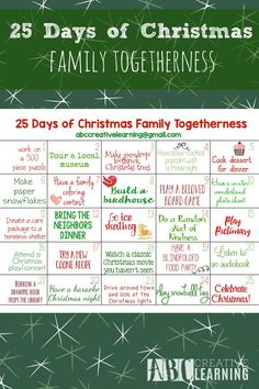 FREE 25 Days of Christmas Family Togetherness Calendar Printable- abccreativelearning.com