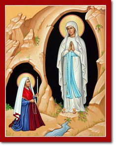 Our Lady of Lourdes Original Icon 20 tall, Original Icons of the Virgin Mary: Monastery Icons Bernadette Soubirou, Bernadette Lourdes, Blessed Mother Mary, Blessed Virgin Mary, Monastery Icons, Mama Mary, Queen Of Heaven, Our Lady Of Lourdes, Immaculate Conception