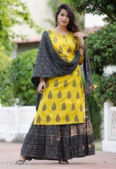 Kurta Sets Attractive Kurta Sets Kurta Fabric: Rayon Bottomwear Fabric: Rayon Fabric: Rayon Sleeve Length: Three-Quarter Sleeves Set Type: Kurta With Dupatta And Bottomwear Bottom Type: Skirt Pattern: Printed Multipack: Single Sizes: M Country of Origin: India Sizes Available: M, L, XL, XXL, XXXL, 4XL, 5XL, 6XL, 7XL   Catalog Rating: ★4.4 (482)  Catalog Name: Women's Printed Rayon Kurta Set with Sharara CatalogID_2614982 C74-SC1003 Code: 597-13340978-7512