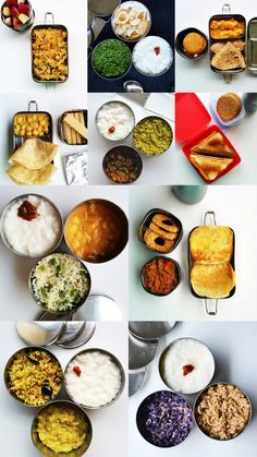 """Easy Indian Lunch box recipes from Rakskitchen.these are actually Indian lunch containers called """"tiffins"""" Lunch Box Recipes, Baby Food Recipes, Indian Food Recipes, Lunch Ideas, Meal Ideas, Drink Recipes, 31 Ideas, Food Ideas, Lunch Menu"""