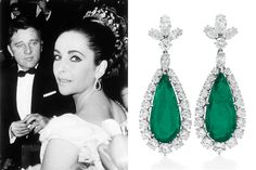 Elizabeth Taylor Jewelry - Pair of tear-drop emerald and diamond earrings weighing 9.50 and 8.44 cts, by Bulgari
