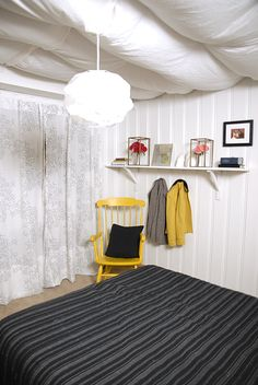 upgrading a basement room.  Example of painted pine paneling.  Much improved look and cottage feel.