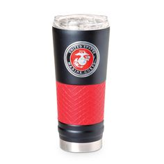 Marine Black With Red Grip Tumbler Usmc, Marines, Insulated Coffee Mugs, Powder Coating, Cold Drinks, Tumbler, Vacuums, Red, House