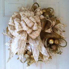 FALL SALE: Whimsical Christmas White & Gold Metallic Foil Deco Poly Mesh Christmas Wreath on Etsy, $75.00