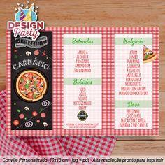 Resultado de imagem para festa pizza convite Pizza, Bernardo, Mini, Decor, Personalized Invitations, 1 Year, Night, Party, Decoration