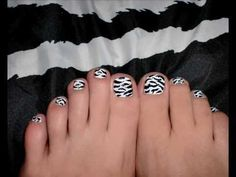 ♥ B2B....  Zebra print toe nails TUTORIAL  ♥