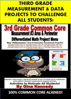 "CHALLENGING 3RD GRADE COMMON CORE AREA & PERIMETER ENRICHMENT PROJECTS! A GREAT WAY TO CHALLENGE YOUR EARLY FINISHERS, GIFTED STUDENTS OR THE ENTIRE CLASS!  This is a must have for any 3rd grade common core classroom. Nine creative differentiated ""Measurement & Data #3: Area and Perimeter"" math projects that correlate with all the measurement and data Common Core standards."