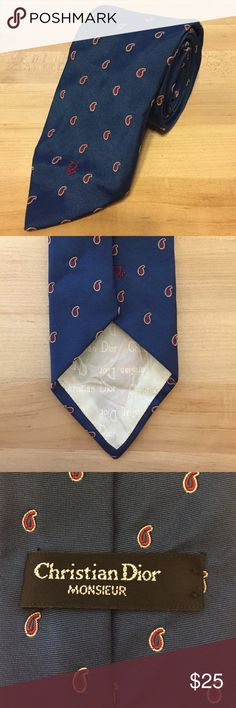 Vintage Christian Dior Men's Tie 95% polyester 5% silk, made in USA, vintage Dior, paisley Christian Dior Accessories Scarves & Wraps