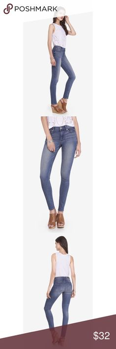 Express mid rise skinny jean legging! This jean legging from Express features performance technology for a flexible, stretchy fit. Jeans are mid rise and comes in a medium blue wash. 4 pockets. Used. Good condition. True to size. Express Jeans