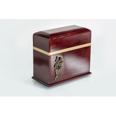 Mahogany Solid Wood Casket Shape with Brass Calla Lily Funeral Cremation Ashes Urn for Adult (218)