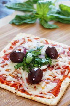 Matzoh pizzas are a super fun dinner idea, everyone can make their own pizza, or three, in a jiffy.