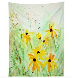 Black Eyed Susans tapestry - In partnership with Deny Designs, we have combined my artwork with their quality home decor products, which result in amazing pieces for you to enjoy! Small: 50 x 60  Medium: 60 x 80  (Please note there is a 1-2 tolerance on all printed textile products)  It's the room accessory with so many uses it will have your head spinning! Dress up your wall, bed, chair or use it on the go for a picnic, day at the beach or on the lawn at that show you've been dying to see…