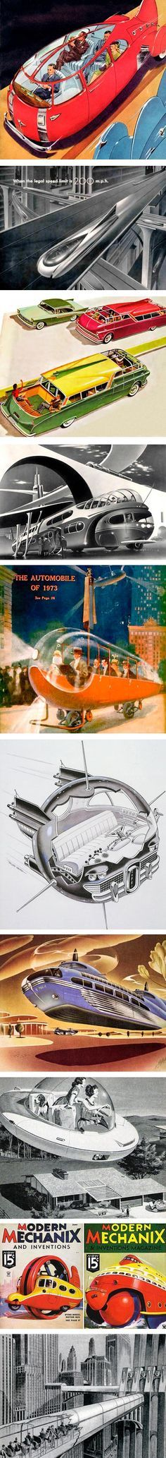 Retro Future Transportation Illustrations. The Automobile Of 1973 was nowhere to be seen by the time I was born.