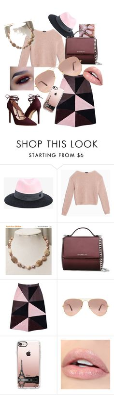 """Fall Pinks"" by deborah-ruggiero on Polyvore featuring Maison Michel, Max&Co., Givenchy, Florence Bridge, Ray-Ban, Casetify, Massimo Matteo, breastcancerawareness and OpalOctoberBirthstone"