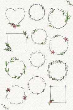 Xmas illustration by Rudolph Hirsch with blank paper for your text Free Doodles, Simple Doodles, Doodle Frames, Doodle Art, Bullet Journal Art, Bullet Journal Inspiration, Valentines Day Messages, Floral Doodle, Karten Diy