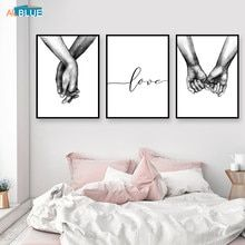 Cartel nórdico blanco y negro de mano lienzo impresiones amante cita pared cuadros para sala de estar decoración minimalista abstracta