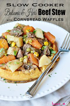 Slow Cooker Balsamic & Herb Beef Stew with Cornbread Waffles | FiveHeartHome.com