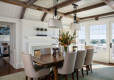 Classic coastal dining room with a view