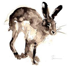 Hare Print, Running Hare