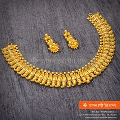 Explore the trendy collection of gold necklace set at Waman Hari Pethe Sons. Gold Bangles Design, Gold Earrings Designs, Gold Jewellery Design, Necklace Designs, Gold Mangalsutra, Gold Jewelry Simple, Jewelry Patterns, Pendant Jewelry, Kerala Jewellery
