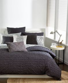 Wonderful dark grey comforter with texture...add bright, patterned pillows and throws. Twin $104; Bar III Box Pleat Carbon Twin Comforter - Bedding Collections - Bed & Bath - Macy's