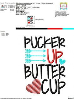 Embroidery design 5x7 6x10 Pucker up Buttercup by SoCuteAppliques