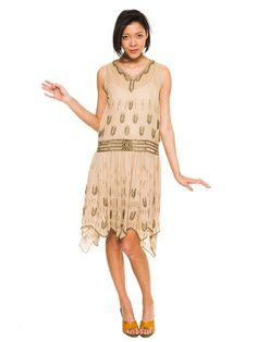 1920s Vintage Beaded Silk Flapper Dress Size by MORPHEWCONCEPT