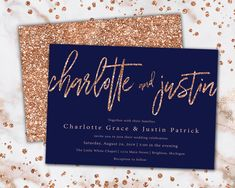 Rose Gold and Navy Wedding Invitations Printable Wedding Glitter Wedding Invitations, Printable Wedding Invitations, Gold Invitations, Rose Gold Invites, Invitation Cards, Brunch Invitations, Rose Gold Glitter, Wedding Planning, Wedding Ideas
