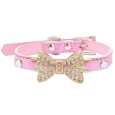 LillypetTM Bling Rhinestone Pet Cat Dog Bow Tie Collar Necklace Jewelry for Small or Medium Dogs Cats Pets Female Puppies Chihuahua Yorkie Girl Costume Outfits Light and Adjustble Buckle Pink S -- For more information, visit image link. Cool Dog Collars, Bling Dog Collars, Rhinestone Dog Collar, Rhinestone Bow, Leather Dog Collars, Pet Collars, Leather Buckle, Rhinestone Necklace, Gold Collar