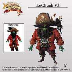 The original LeChuck from Monkey Island 2: LeChuck's Revenge, compared to the revamp for Monkey Island 2: LeChuck's Revenge SPECIAL EDITION. Looks awesome and smooth - one of my favorite designs for LeChuck ever, especially love the dead crow serving as his pirate hat's feather