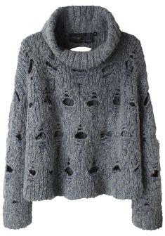 Open Stitch Turtleneck Pullover by Rachel Comey. Boxy, turtleneck sweater with open stitch detail handknit in a marled alpaca blend. Knitwear Fashion, Knit Fashion, Sweater Fashion, Women's Fashion, Handgestrickte Pullover, Knitting Designs, Pulls, Hand Knitting, Knitting Patterns