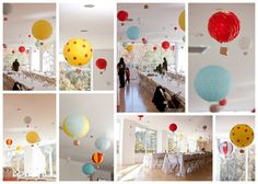 I like this   The white seems a bit stark & centerpieces beed more flair  maybe the addition of blue for clouds would perk it up  Up Up and Away! Hot air balloon 1st birthday party.