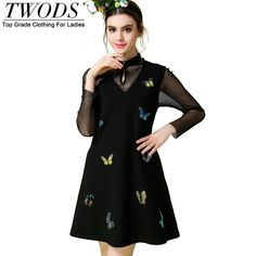 S- 5XL Embroidery Butteryfly  Short Dress   Mesh Long Sleeve Keyhole Mock Neck Slim Fit Little Black