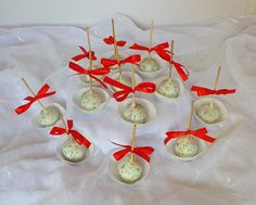 White, red and silver wedding cakepops
