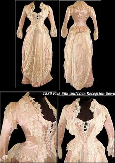 1880 Victorian Pink silk and lace Reception Gown