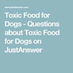 Toxic Food for Dogs - Questions about Toxic Food for Dogs on JustAnswer