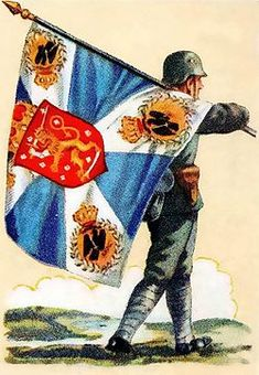 A special Colour was carried by the Royal Prussian Reserve Jaeger Battalion No. formed during World War I by Finnish volounteers who wanted to free the Homeland of Russian Domination. Finland was a this time a Grand Duchy under the Czar of Russia. Army Colors, Imperial Army, German Army, World War I, Coat Of Arms, Finland, Two By Two, Flag, Colours