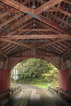The North Fork Yachats Covered Bridge is one of the few Oregon bridges built with the Queenpost truss, and the wood planked flooring is also a unique feature to the bridge.