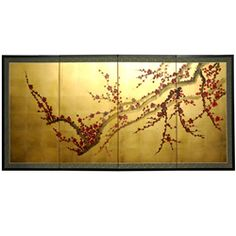 @Overstock - Evoke images of the Orient with this soft and beautiful rendition of a blossoming plum tree. This hand-painted gold leaf silk screen provides an artistic touch to any decor and can be used as a privacy screen or wall hanging. http://www.overstock.com/Worldstock-Fair-Trade/Silk-and-Wood-36-inch-Plum-Tree-on-Gold-Leaf-Wall-Hanging-China/5321365/product.html?CID=214117 $206.99