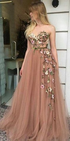 On Sale Light Champagne Party Dress A-Line Sweetheart Sweep Train Champagne Prom Dress With Appliques A Line Prom Dresses, Tulle Prom Dress, Homecoming Dresses, Dress Up, Formal Dresses, Long Dresses, Maxi Dresses, Party Dress, Wedding Dresses