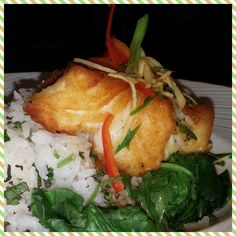 Chilean Sea Bass with wilted spinach, Basmati rice and Asian Soy Glaze ...